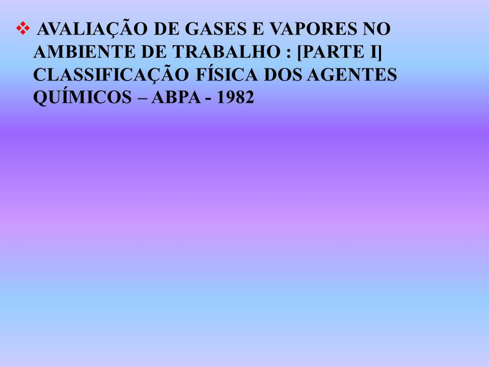 AVALIAÇÃO DE GASES E VAPORES NO AMBIENTE DE TRABALHO : [PARTE I] CLASSIFICAÇÃO FÍSICA DOS AGENTES QUÍMICOS – ABPA - 1982